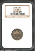 Proof Shield Nickels: , 1876 5C PR65 NGC. Sharply struck with a thin spray of ...