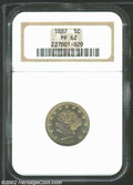 1887 5C PR62 NGC. Moderate gold toning covers slightly hairlined, but well-struck surfaces. From the Williams Collectio...