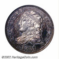 1831 H10C PR62 ANACS. V-1, LM-6. Writing in 1977, Walter Breen reports proof 1831 Capped Bust Half Dimes of the V-1, V-3...