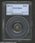 1851-O H10C MS64 PCGS. Powerfully toned in deep green, blue, and maroon shades that concentrically circle around the obv...