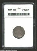 1797 10C 13 Stars Good 6 ANACS. JR-2, R.4. Only two varieties are known of the 1797 Dime, and they are readily distingui...