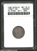 Early Dimes: , 1798/97 10C 16 Stars on Reverse--Bent--ANACS. Fine Details, ...