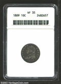 Bust Dimes: , 1809 10C VF35 ANACS. JR-1, R.4. The only die pairing used ...