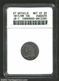 Bust Dimes: , 1811/9 10C --Corroded, Whizzed--ANACS. XF Details, VF20 JR-...