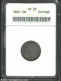 Bust Dimes: , 1820 10C Large 0 VF25 ANACS. JR-7, R.2. Deeply toned with ...