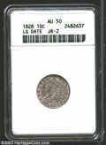 Bust Dimes: , 1828 10C Large Size AU50 ANACS. JR-2, R.3. Medium gray ...