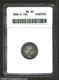 Barber Dimes: , 1896-S 10C MS60 ANACS. While the luster is a bit flat on ...