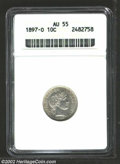 Barber Dimes: , 1897-O 10C AU55 ANACS. Evenly shaded steel grey, the ...