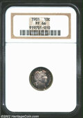 Proof Barber Dimes: , 1901 10C PR66 NGC. Bright in the central areas with ...