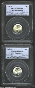 Mercury Dimes: , 1938-S 10C MS66 Full Bands PCGS, a brilliant and lustrous ...