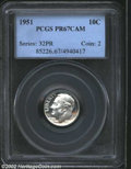 Proof Roosevelt Dimes: , 1951 10C PR67 Cameo PCGS. A brilliant and exquisitely ...