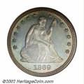 Proof Seated Quarters, 1869 25C PR67 NGC. Ex: P. Kaufman. Like the other P-mint ...