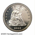 Proof Seated Quarters: , 1882 25C PR66 Cameo PCGS. The 1882 Quarter is one of the ...