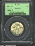 1917-S 25C Type Two MS65 PCGS. A lustrous Gem that has light yellow-green patina and beautifully preserved surfaces. Wel...
