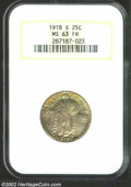 1918-S 25C MS63 Full Head NGC. The obverse has olive and lilac colors, while the lower reverse has variegated russet pat...