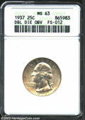 Washington Quarters: , 1937 25C Doubled Die MS63 ANACS. FS-12. The