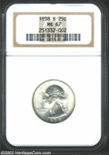 Washington Quarters: , 1938-S 25C MS67 NGC. A well struck and lustrous Superb ...