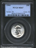 Washington Quarters: , 1944 25C MS67 PCGS. White and brilliant, with a great ...