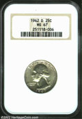 Washington Quarters: , 1962-D 25C MS67 NGC. Dappled, light peripheral toning ...