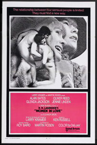 """Women in Love (United Artists, 1970). One Sheet (27"""" X 41"""") Style A. Drama. Starring Alan Bates, Oliver Reed..."""