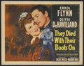 "Movie Posters:Western, They Died With Their Boots On (Warner Brothers, 1941). Title LobbyCard (11"" X 14""). Biographical Western. Starring Errol Fl..."