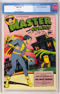 Master Comics #101 Mile High pedigree (Fawcett, 1949) CGC NM+ 9.6 White pages. There was no better cover than this one i...