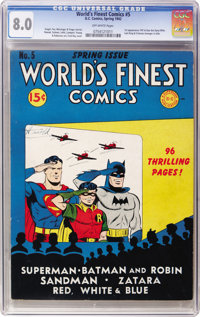 World's Finest Comics #5 (DC, 1942) CGC VF 8.0 Off-white pages