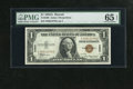 Small Size:World War II Emergency Notes, Fr. 2300 $1 1935A Hawaii Silver Certificate. PMG Gem Uncirculated 65 EPQ.. This is a well preserved note....