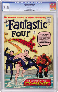 Fantastic Four #4 (Marvel, 1962) CGC VF- 7.5 White pages