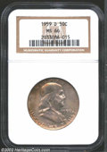 Franklin Half Dollars: , 1959-D 50C MS66 NGC. Beautiful pastel mauve and dove-gray ...