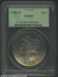 Morgan Dollars: , 1880-S $1 MS66 PCGS. Bands of violet, rose, and ...