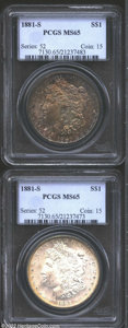 Morgan Dollars: , 1881-S $1 MS65 PCGS, dense aqua, navy-blue, and lavender ...