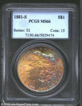 "Morgan Dollars: , 1881-S $1 MS66 PCGS. Another of the many ""end-roll"" ..."