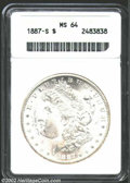 Morgan Dollars: , 1887-S $1 MS64 ANACS. Creamy white and well struck with ...