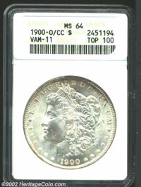 1900-O/CC $1 MS64 ANACS. VAM-11. Top 100 Variety. The rims have hints of coffee-gold patina. Booming mint luster and car...