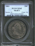 Early Half Dollars: , 1803 50C Small 3 XF45 PCGS. O-104, R.3. Silvery luster ...