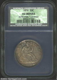 1874 50C Arrows AU Details, Improperly Cleaned NCS. A boldly detailed example that has deep golden-brown and steel-blue...