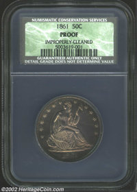 1861 50C Proof, Improperly Cleaned NCS. Hazy shades of purple patina make the hairlined fields less apparent. A well str...