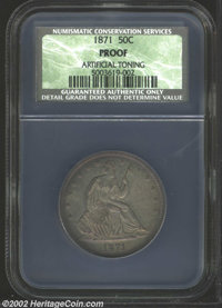 1871 50C Proof, Artificial Toning NCS. Iridescent golden-brown and violet colors appear when this boldly struck coin is...