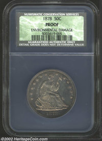 1878 50C Proof, Environmental Damage NCS. The strike is needle-sharp, but wispy hairlines and speckles of dark verdigris...