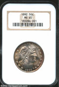 Barber Half Dollars: , 1892 50C MS65 NGC. The quality of production for this ...