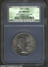 1907-S 50C AU Details, Improperly Cleaned NCS. Deep silver-gray, lime-green, and violet-mauve patina. A nicely struck pi...