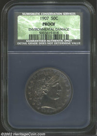 1907 50C Proof, Environmental Damage NCS. The mauve and lilac patina is somewhat lighter in the reverse center. Somewhat...