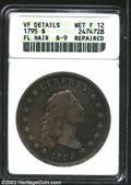 1795 $1 Flowing Hair, Three Leaves--Repaired--ANACS. VF Details, Net Fine 12. B-9, BB-13, R.3. Richly toned with lilac a...