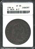 1795 $1 Flowing Hair, Three Leaves VF35 ANACS. B-7, BB-18. This is a richly toned representative with speckled olive-gra...