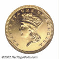 Proof Gold Dollars: , 1887 G$1 PR65 ANACS. A closed reverse wreath and the ...