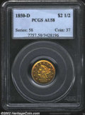 1850-D $2 1/2 AU58 PCGS. Deep lemon-gold and steel-blue patina confirms the originality of this attractive example. The...