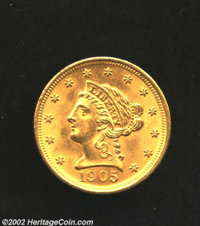 1905 $2 1/2 MS63 Uncertified. A boldly struck specimen with pleasing luster. The fields and portrait are impressively pr...