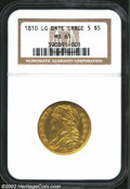 Early Half Eagles: , 1810 $5 Large Date, Large 5 MS61 NGC. B. 1-A, Miller-109, ...