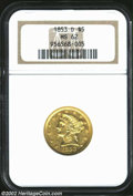 1853-D $5 MS62 NGC. Winter 23-Q, the reverse die of which was also used to deliver some 1852-D Fives. With a respectable...